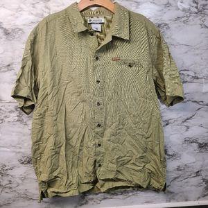 VINTAGE Columbia Shirt Button Green Shirt L
